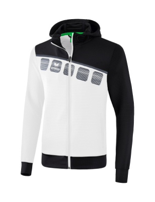 ERIMA 5-C Training Jacket with hood 5-C weiß/schwarz/dunkelgrau