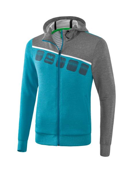 ERIMA Frauen 5 C Trainingsjacke mit Kapuze 5 C oriental blue melangegrau melangeweiß