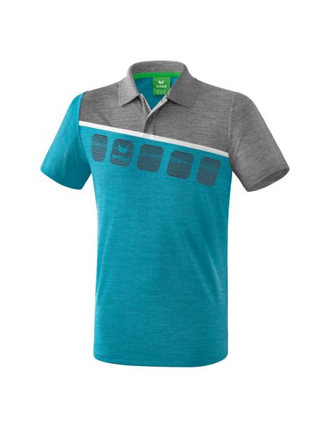 ERIMA Kinder Herren 5 C Poloshirt 5 C oriental blue melangegrau melangeweiß