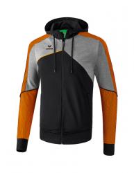 ERIMA Kinder / Herren Premium One 2.0 Trainingsjacke mit Kapuze PREMIUM ONE 2.0 schwarz/grau melange/neon orange