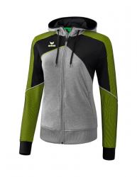 ERIMA Frauen Premium One 2.0 Trainingsjacke mit Kapuze PREMIUM ONE 2.0 grau melange/schwarz/lime pop