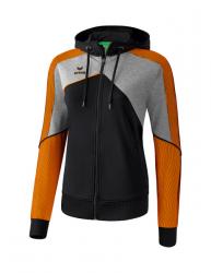 ERIMA Frauen Premium One 2.0 Trainingsjacke mit Kapuze PREMIUM ONE 2.0 schwarz/grau melange/neon orange
