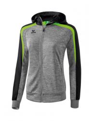 ERIMA Frauen Liga 2.0 Trainingsjacke mit Kapuze LIGA LINE 2.0 grau melange/schwarz/green gecko