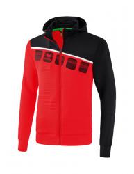 ERIMA Kinder / Herren 5-C Trainingsjacke mit Kapuze 5-C rot/schwarz/weiß