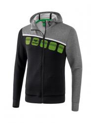 ERIMA Kinder / Herren 5-C Trainingsjacke mit Kapuze 5-C schwarz/grau melange/weiß