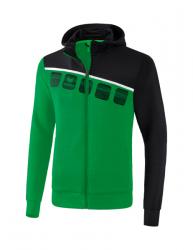 ERIMA Kinder / Herren 5-C Trainingsjacke mit Kapuze 5-C smaragd/schwarz/weiß