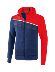 ERIMA Kinder / Herren 5-C Trainingsjacke mit Kapuze 5-C new navy/rot/weiß