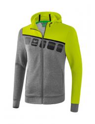 ERIMA Kinder / Herren 5-C Trainingsjacke mit Kapuze 5-C grau melange/lime pop/schwarz