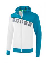 ERIMA Kinder / Herren 5-C Trainingsjacke mit Kapuze 5-C weiß/oriental blue/colonial blue