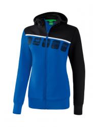 ERIMA Frauen 5-C Trainingsjacke mit Kapuze 5-C new royal/schwarz/weiß