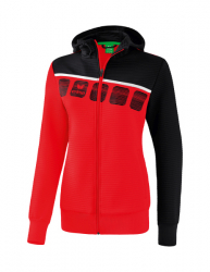 ERIMA Frauen 5-C Trainingsjacke mit Kapuze 5-C rot/schwarz/weiß