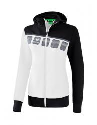 ERIMA Damen 5-C Trainingsjacke mit Kapuze weiß/schwarz/dunkelgrau