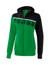 ERIMA Frauen 5-C Trainingsjacke mit Kapuze 5-C smaragd/schwarz/weiß