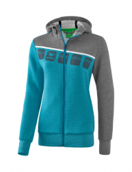 ERIMA Frauen 5-C Trainingsjacke mit Kapuze 5-C oriental blue melange/grau melange/weiß (+3% Zusatzrabatt)