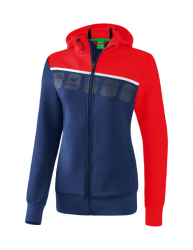 ERIMA Damen 5-C Trainingsjacke mit Kapuze new navy/rot/weiß