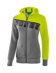 ERIMA Frauen 5-C Trainingsjacke mit Kapuze 5-C grau melange/lime pop/schwarz (2% Zusatzrabatt bei Vorkasse ab 200,00 ¤ Bestellwert)