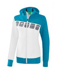 ERIMA Frauen 5-C Trainingsjacke mit Kapuze 5-C weiß/oriental blue/colonial blue