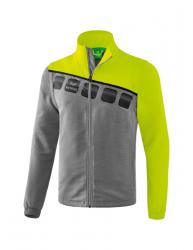ERIMA Herren 5-C Jacke mit abnehmbaren Ärmeln 5-C grau melange/lime pop/schwarz