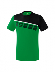 ERIMA Kinder / Herren 5-C T-Shirt 5-C smaragd/schwarz/weiß