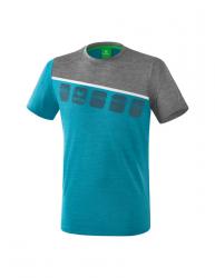 ERIMA 5-C T-Shirt oriental blue melange/grau melange/weiß
