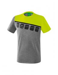 ERIMA Kinder / Herren 5-C T-Shirt 5-C grau melange/lime pop/schwarz