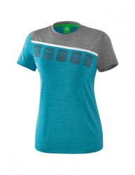 ERIMA Frauen 5-C T-Shirt 5-C oriental blue melange/grau melange/wei?