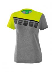 ERIMA Frauen 5-C T-Shirt 5-C grau melange/lime pop/schwarz