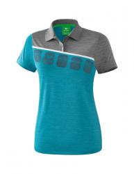 ERIMA Frauen 5-C Poloshirt 5-C oriental blue melange/grau melange/weiß