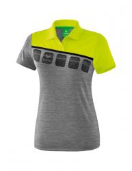 ERIMA Frauen 5-C Poloshirt 5-C grau melange/lime pop/schwarz