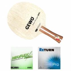 Komplettschläger mit Gewo Holz Zoom Pro Off- und Gewo Belag Neoflexx 40 und Gewo Belag Return Pro