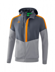 ERIMA Squad Tracktop Jacke mit Kapuze slate grey/monument grey/new orange