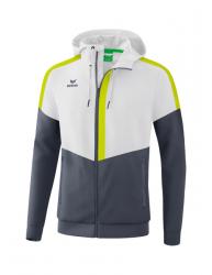 ERIMA Herren Squad Tracktop Jacke mit Kapuze SQUAD weiß/slate grey/bio lime