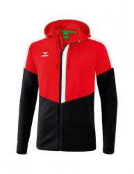 ERIMA Kinder / Herren Squad Trainingsjacke mit Kapuze SQUAD rot/schwarz/weiß