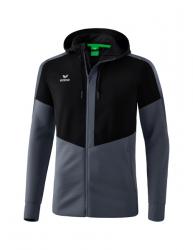ERIMA Kinder / Herren Squad Trainingsjacke mit Kapuze SQUAD schwarz/slate grey