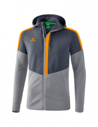 ERIMA Kinder / Herren Squad Trainingsjacke mit Kapuze SQUAD slate grey/monument grey/new orange