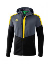 ERIMA Kinder / Herren Squad Trainingsjacke mit Kapuze SQUAD slate grey/schwarz/gelb