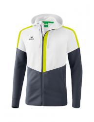 ERIMA Kinder / Herren Squad Trainingsjacke mit Kapuze SQUAD weiß/slate grey/bio lime