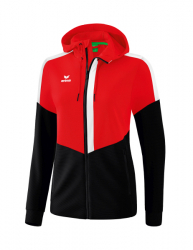 ERIMA Damen Squad Trainingsjacke mit Kapuze rot/schwarz/weiß