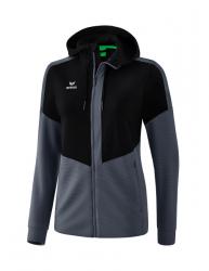 ERIMA Frauen Squad Trainingsjacke mit Kapuze SQUAD schwarz/slate grey (2% Zusatzrabatt bei Vorkasse ab 200,00 ¤ Bestellwert)