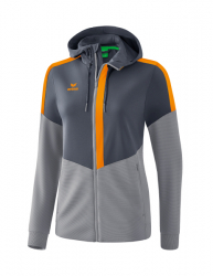 ERIMA Frauen Squad Trainingsjacke mit Kapuze SQUAD slate grey/monument grey/new orange