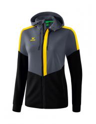 ERIMA Damen Squad Trainingsjacke mit Kapuze slate grey/schwarz/gelb