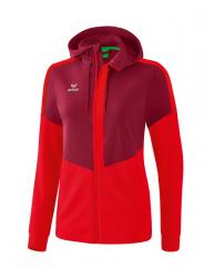 ERIMA Frauen Squad Trainingsjacke mit Kapuze SQUAD bordeaux/rot (2% Zusatzrabatt bei Vorkasse ab 200,00 ¤ Bestellwert)