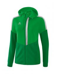 ERIMA Damen Squad Trainingsjacke mit Kapuze fern green/smaragd/silver grey