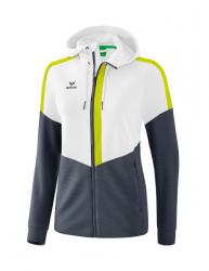 ERIMA Damen Squad Trainingsjacke mit Kapuze weiß/slate grey/bio lime