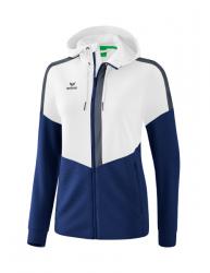 ERIMA Damen Squad Trainingsjacke mit Kapuze weiß/new navy/slate grey